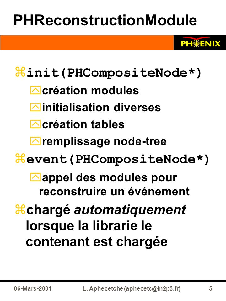 06-Mars-2001L. Aphecetche (aphecetc@in2p3.fr)5 PHReconstructionModule  init(PHCompositeNode*)  création modules  initialisation diverses  création