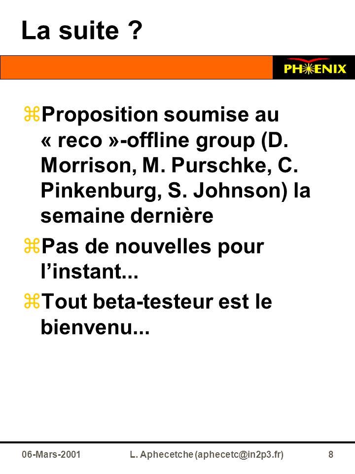 06-Mars-2001L. Aphecetche (aphecetc@in2p3.fr)8 La suite ?  Proposition soumise au « reco »-offline group (D. Morrison, M. Purschke, C. Pinkenburg, S.