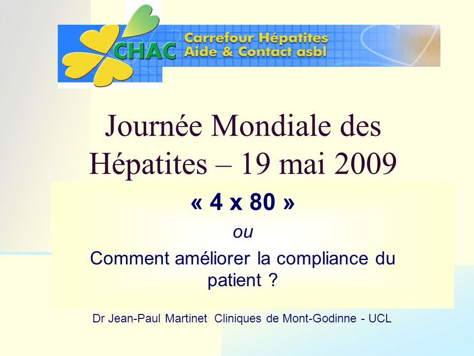 La compliance (du patient) à la bithérapie améliore le taux de succès chez les patients infectés par le génotype 1 du virus C