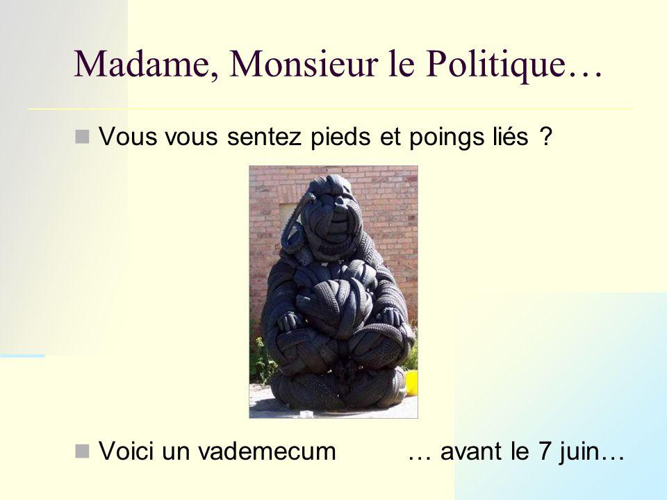 Madame, Monsieur le Politique… Vous vous sentez pieds et poings liés .
