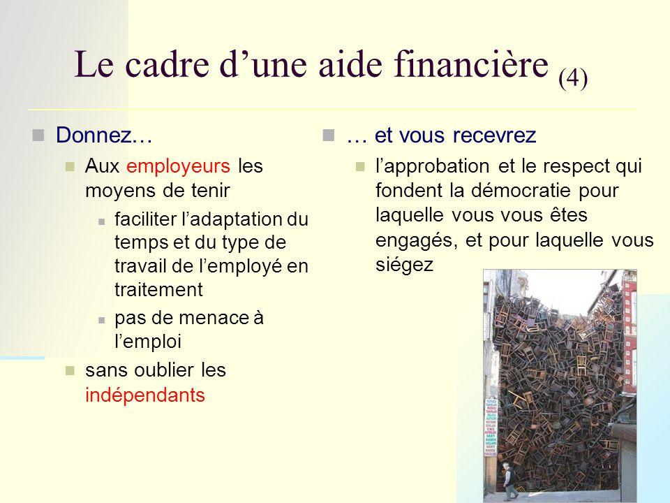 Le cadre d'une aide financière (4) Donnez… Aux employeurs les moyens de tenir faciliter l'adaptation du temps et du type de travail de l'employé en traitement pas de menace à l'emploi sans oublier les indépendants … et vous recevrez l'approbation et le respect qui fondent la démocratie pour laquelle vous vous êtes engagés, et pour laquelle vous siégez