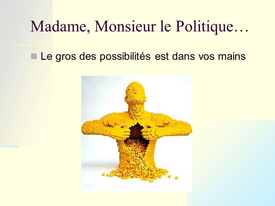Madame, Monsieur le Politique… Le gros des possibilités est dans vos mains