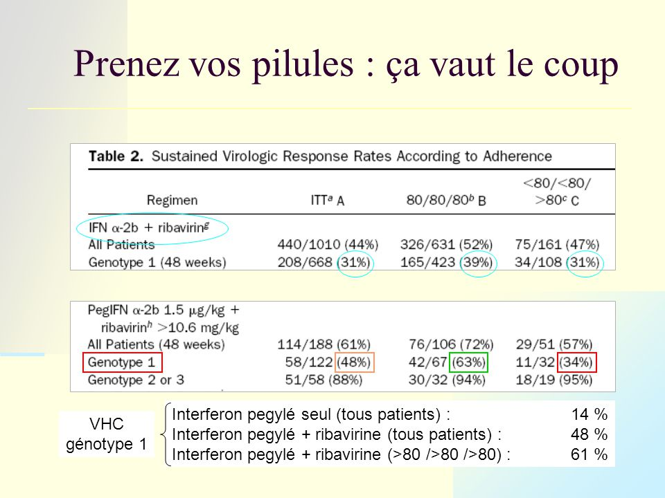 Prenez vos pilules : ça vaut le coup Interferon pegylé seul (tous patients) :14 % Interferon pegylé + ribavirine (tous patients) :48 % Interferon pegylé + ribavirine (>80 />80 />80) :61 % VHC génotype 1