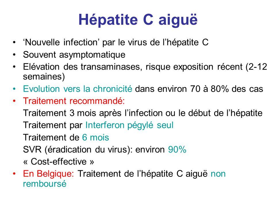 Hépatite C aiguë 'Nouvelle infection' par le virus de l'hépatite C Souvent asymptomatique Elévation des transaminases, risque exposition récent (2-12