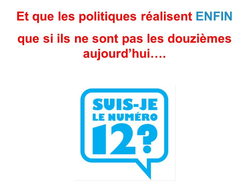 Et que les politiques réalisent ENFIN que si ils ne sont pas les douzièmes aujourd'hui….