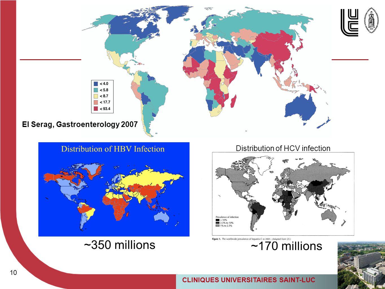 10 CLINIQUES UNIVERSITAIRES SAINT-LUC 10 El Serag, Gastroenterology 2007 ~350 millions ~170 millions Distribution of HCV infection