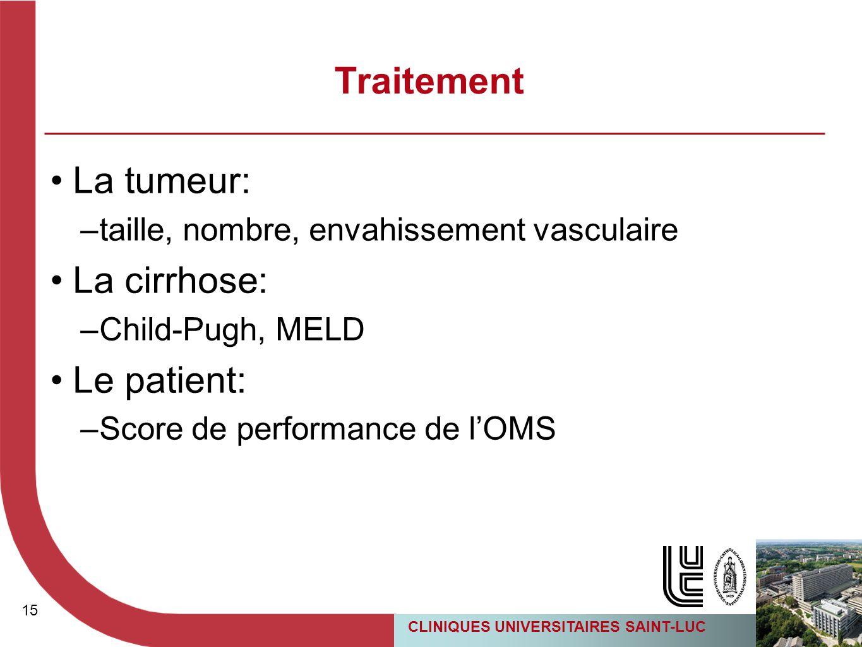 15 CLINIQUES UNIVERSITAIRES SAINT-LUC Traitement La tumeur: –taille, nombre, envahissement vasculaire La cirrhose: –Child-Pugh, MELD Le patient: –Scor
