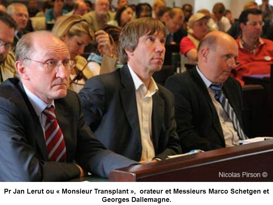 Pr Jan Lerut ou « Monsieur Transplant », orateur et Messieurs Marco Schetgen et Georges Dallemagne.