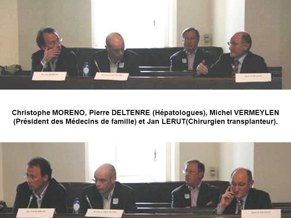 Christophe MORENO, Pierre DELTENRE (Hépatologues), Michel VERMEYLEN (Président des Médecins de famille) et Jan LERUT(Chirurgien transplanteur).