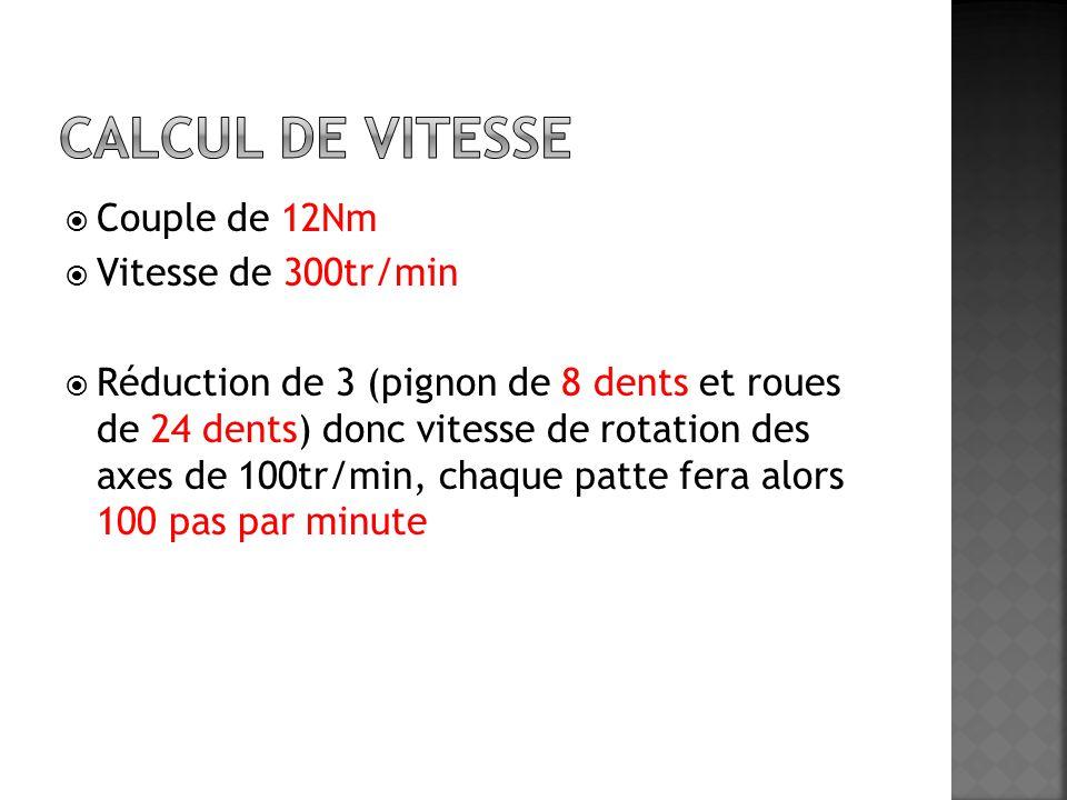  Couple de 12Nm  Vitesse de 300tr/min  Réduction de 3 (pignon de 8 dents et roues de 24 dents) donc vitesse de rotation des axes de 100tr/min, chaq