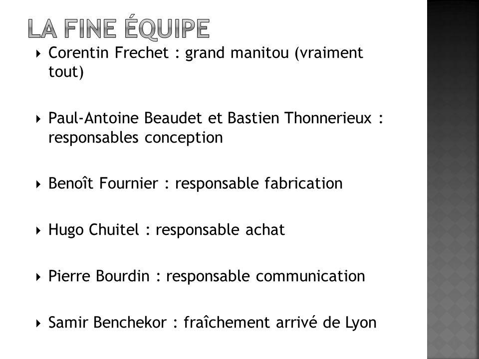  Corentin Frechet : grand manitou (vraiment tout)  Paul-Antoine Beaudet et Bastien Thonnerieux : responsables conception  Benoît Fournier : respons