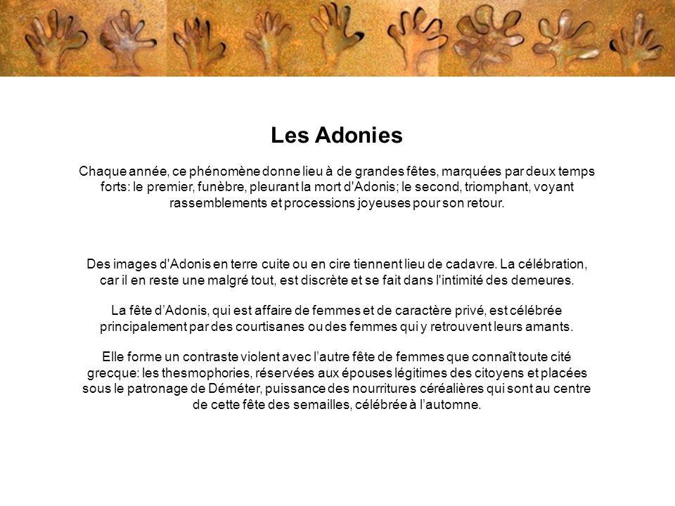Les Adonies Chaque année, ce phénomène donne lieu à de grandes fêtes, marquées par deux temps forts: le premier, funèbre, pleurant la mort d'Adonis; l