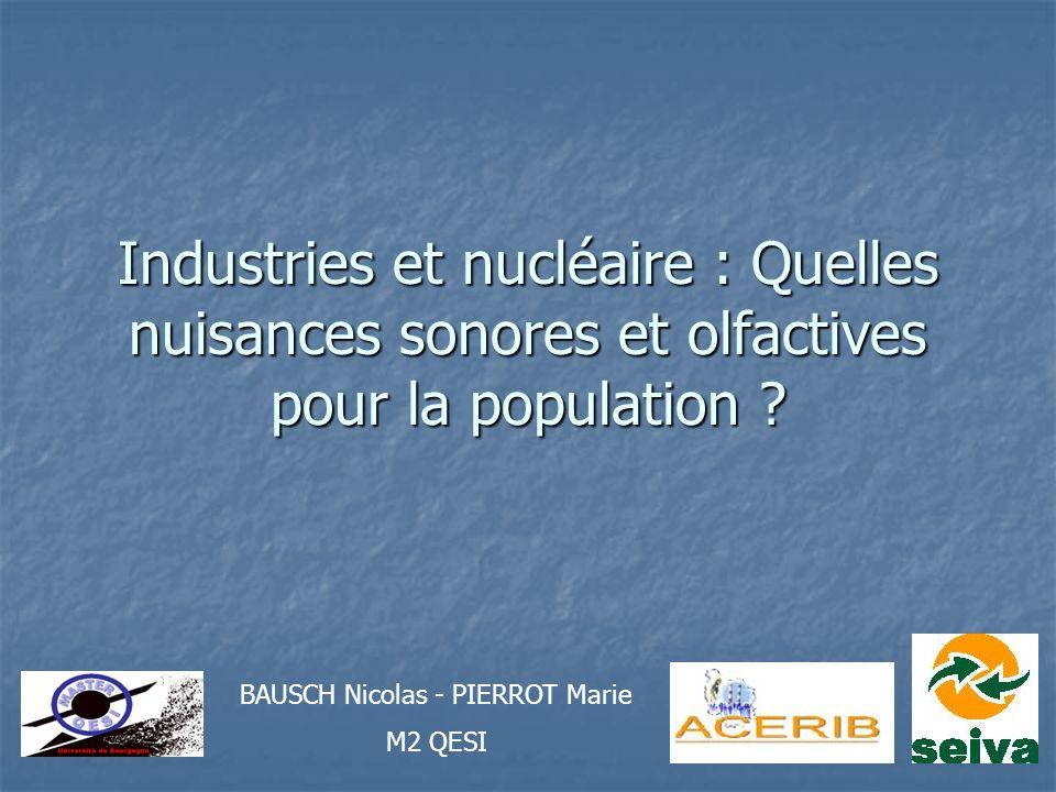 Industries et nucléaire : Quelles nuisances sonores et olfactives pour la population ? BAUSCH Nicolas - PIERROT Marie M2 QESI