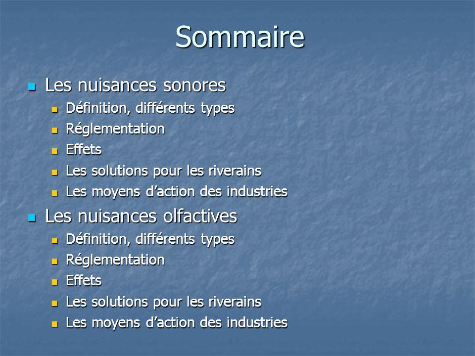 Sommaire Les nuisances sonores Les nuisances sonores Définition, différents types Définition, différents types Réglementation Réglementation Effets Ef