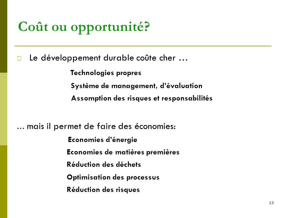 13 Coût ou opportunité?  Le développement durable coûte cher … Technologies propres Système de management, d'évaluation Assomption des risques et res