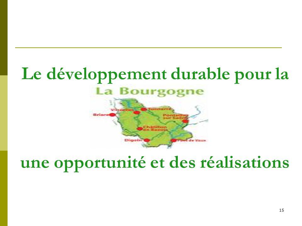 15 Le développement durable pour la une opportunité et des réalisations