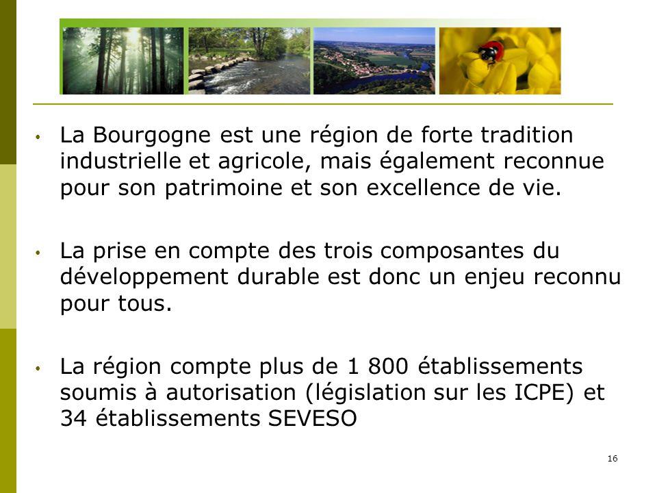 16 La Bourgogne est une région de forte tradition industrielle et agricole, mais également reconnue pour son patrimoine et son excellence de vie. La p