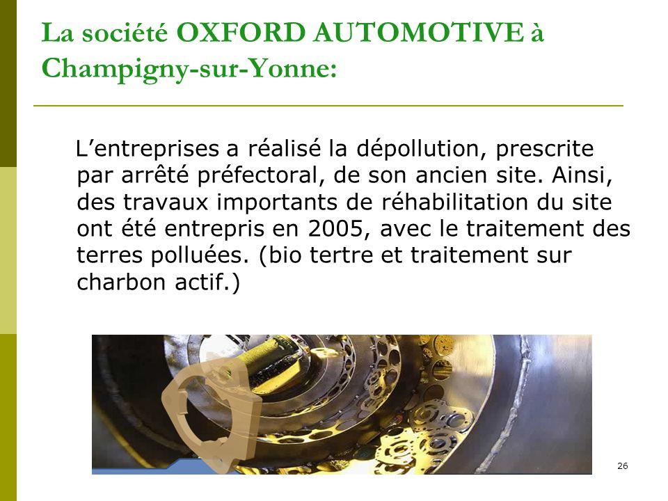 26 La société OXFORD AUTOMOTIVE à Champigny-sur-Yonne: L'entreprises a réalisé la dépollution, prescrite par arrêté préfectoral, de son ancien site. A