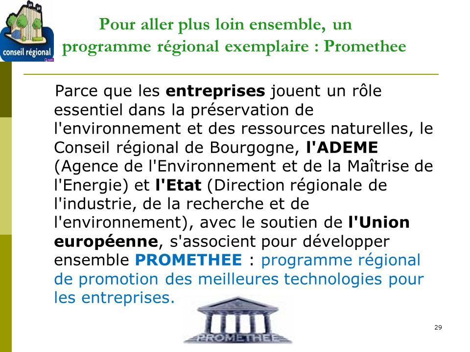 29 Pour aller plus loin ensemble, un programme régional exemplaire : Promethee Parce que les entreprises jouent un rôle essentiel dans la préservation
