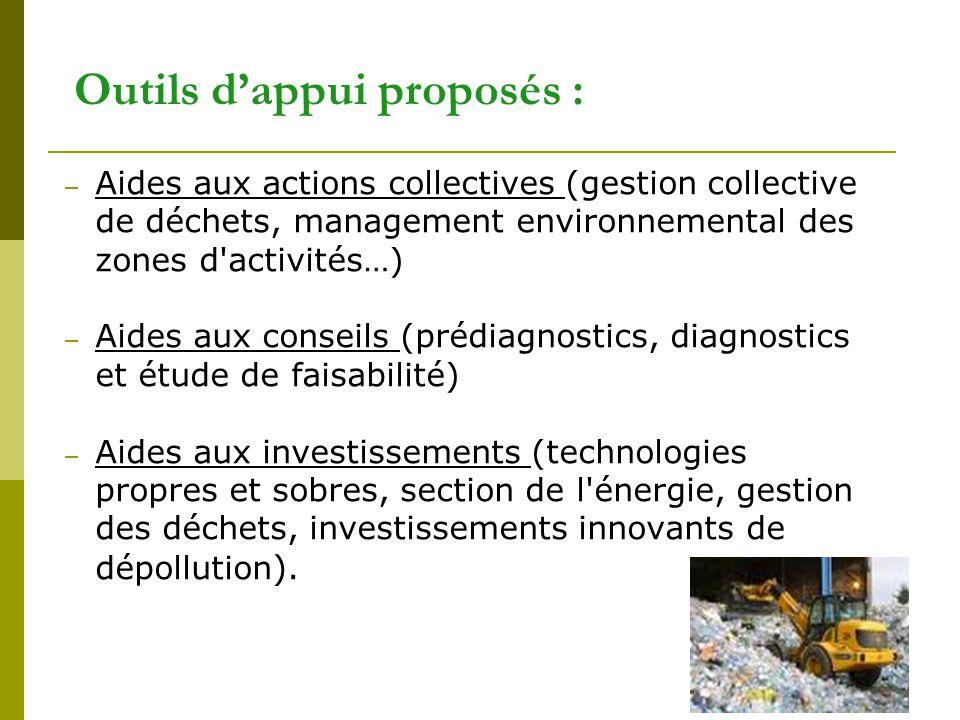 31 Outils d'appui proposés : – Aides aux actions collectives (gestion collective de déchets, management environnemental des zones d'activités…) – Aide