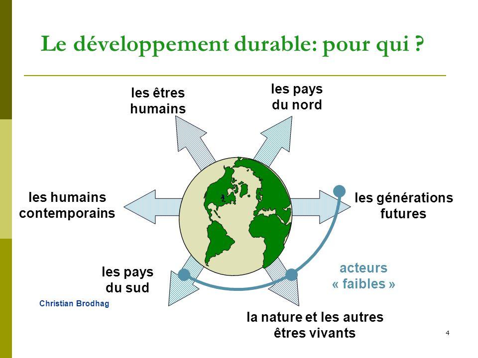 4 Le développement durable: pour qui ? la nature et les autres êtres vivants les pays du sud les humains contemporains les générations futures acteurs