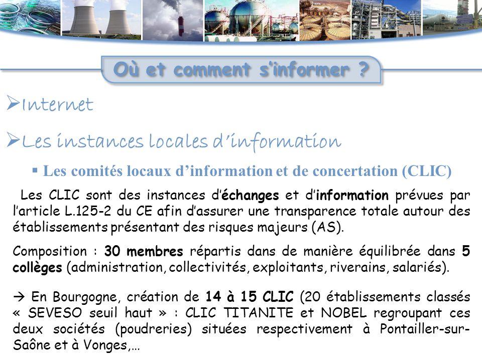  Internet Où et comment s'informer ?  Les instances locales d'information  Les comités locaux d'information et de concertation (CLIC) Les CLIC sont