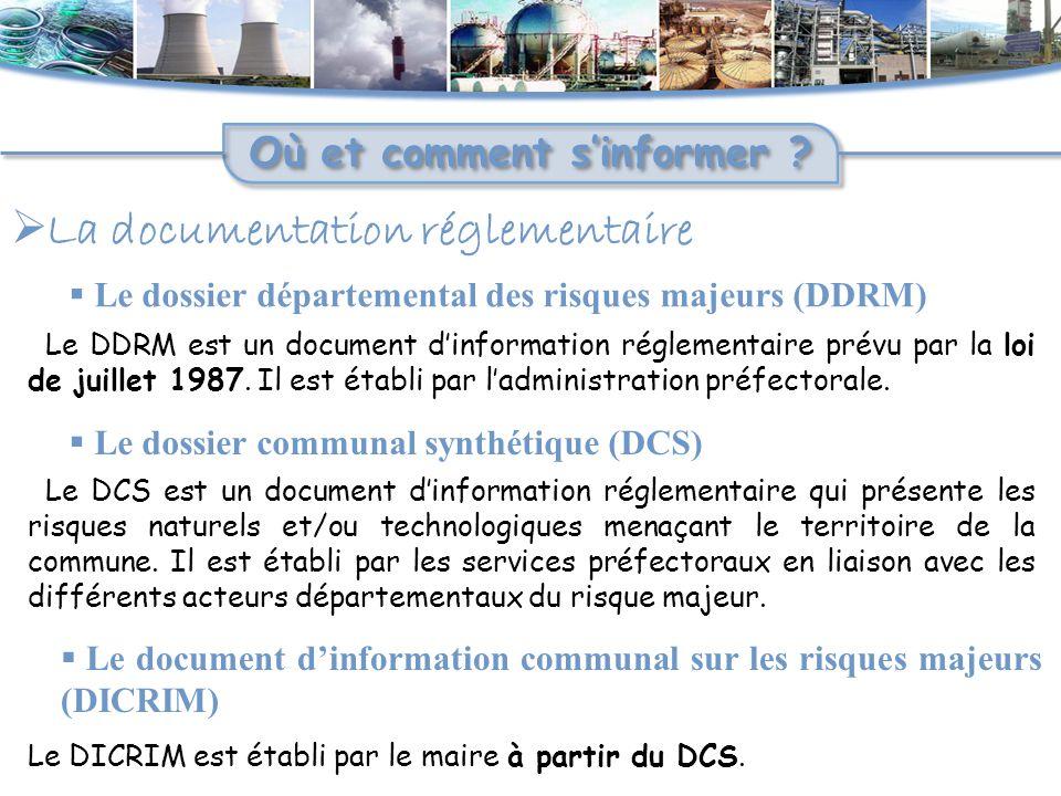  La documentation réglementaire Où et comment s'informer ?  Le dossier départemental des risques majeurs (DDRM) Le DDRM est un document d'informatio
