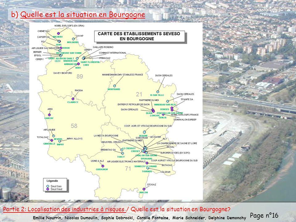 Page n°16 Emilie Nourrin, Nicolas Dumoulin, Sophie Dobrocki, Coralie Fontaine, Marie Schneider, Delphine Demonchy b) Quelle est la situation en Bourgo