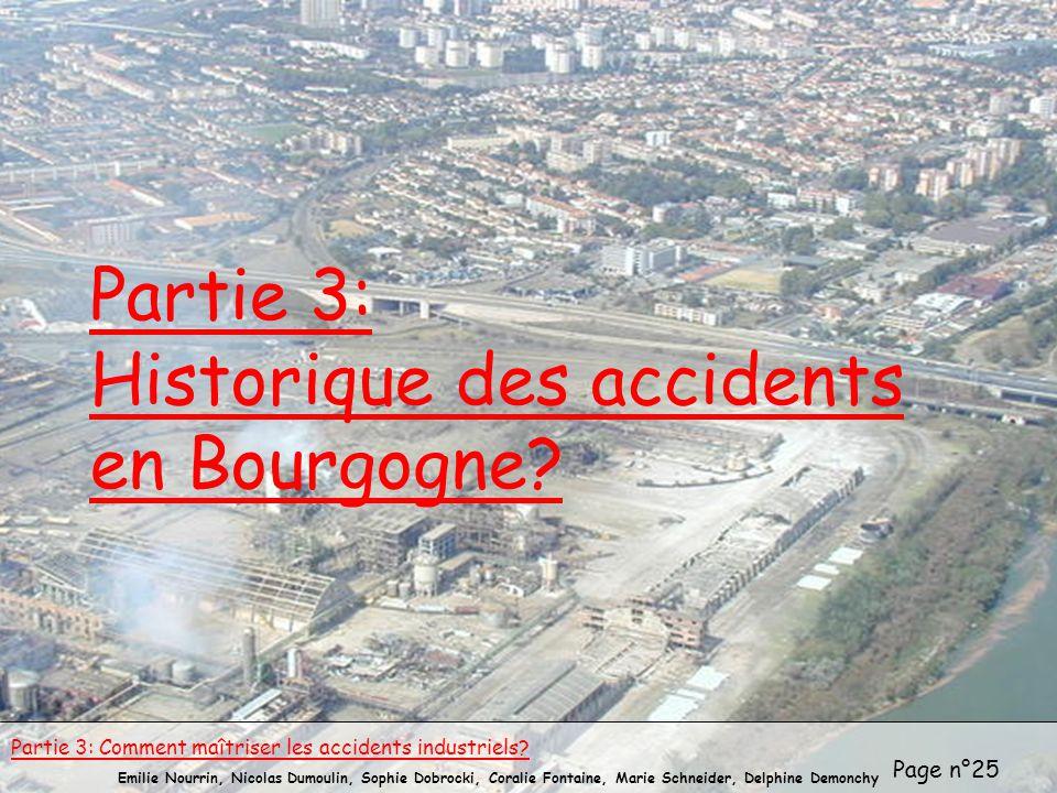 Page n°25 Emilie Nourrin, Nicolas Dumoulin, Sophie Dobrocki, Coralie Fontaine, Marie Schneider, Delphine Demonchy Partie 3: Historique des accidents e