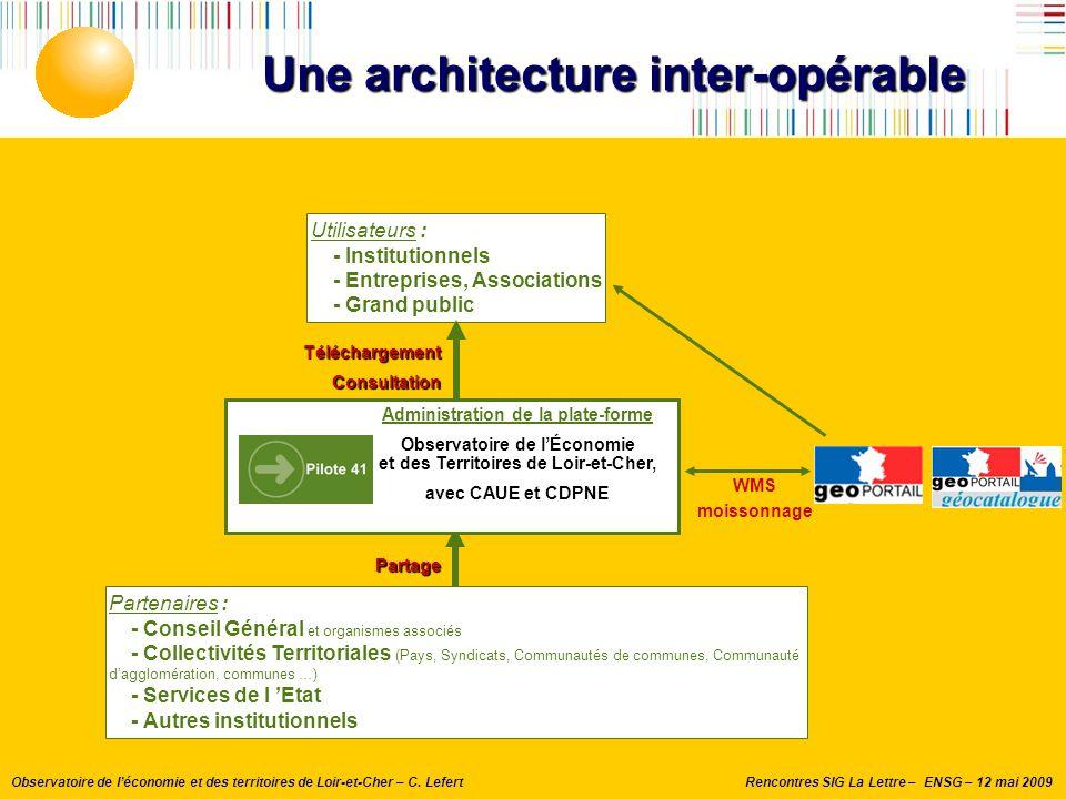 Rencontres SIG La Lettre – ENSG – 12 mai 2009Observatoire de l'économie et des territoires de Loir-et-Cher – C. Lefert Une architecture inter-opérable