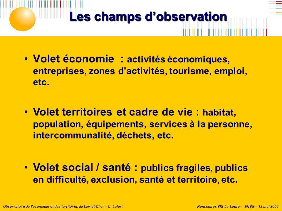 Rencontres SIG La Lettre – ENSG – 12 mai 2009Observatoire de l'économie et des territoires de Loir-et-Cher – C. Lefert Les champs d'observation Volet