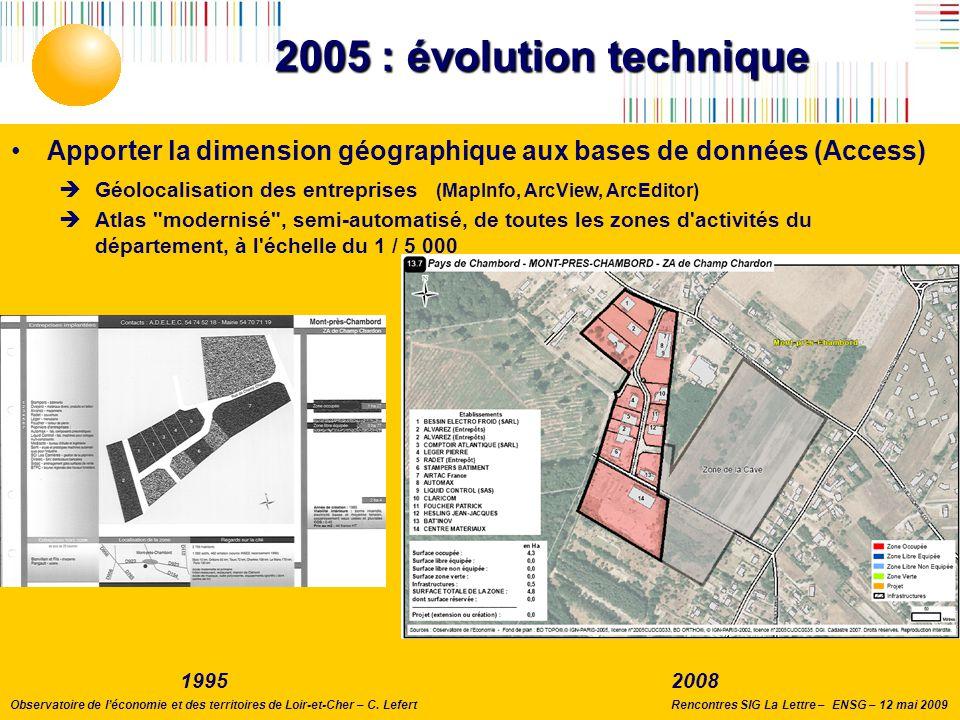 Rencontres SIG La Lettre – ENSG – 12 mai 2009Observatoire de l'économie et des territoires de Loir-et-Cher – C. Lefert 2005 : évolution technique Appo