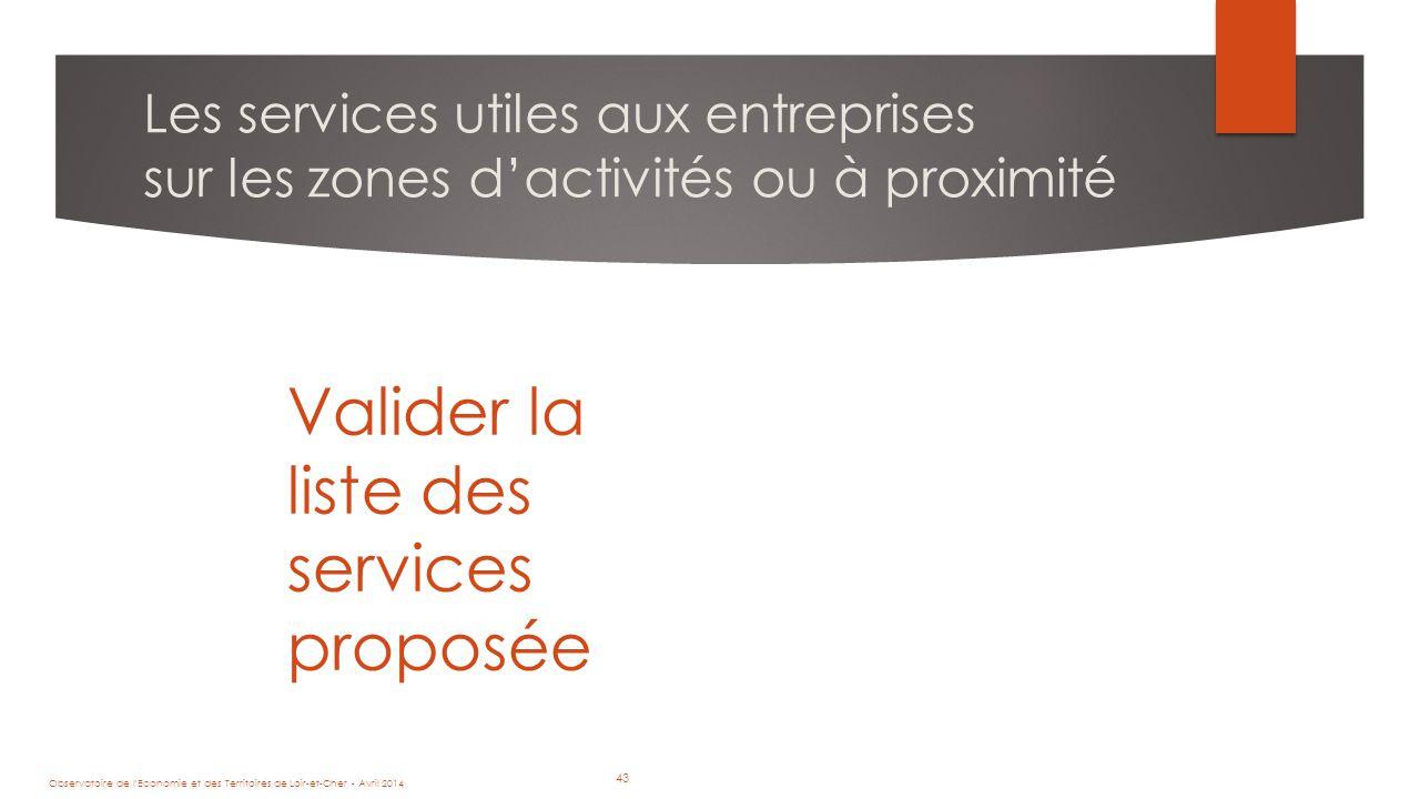 43 Les services utiles aux entreprises sur les zones d'activités ou à proximité Observatoire de l Economie et des Territoires de Loir-et-Cher - Avril 2014 43 Valider la liste des services proposée