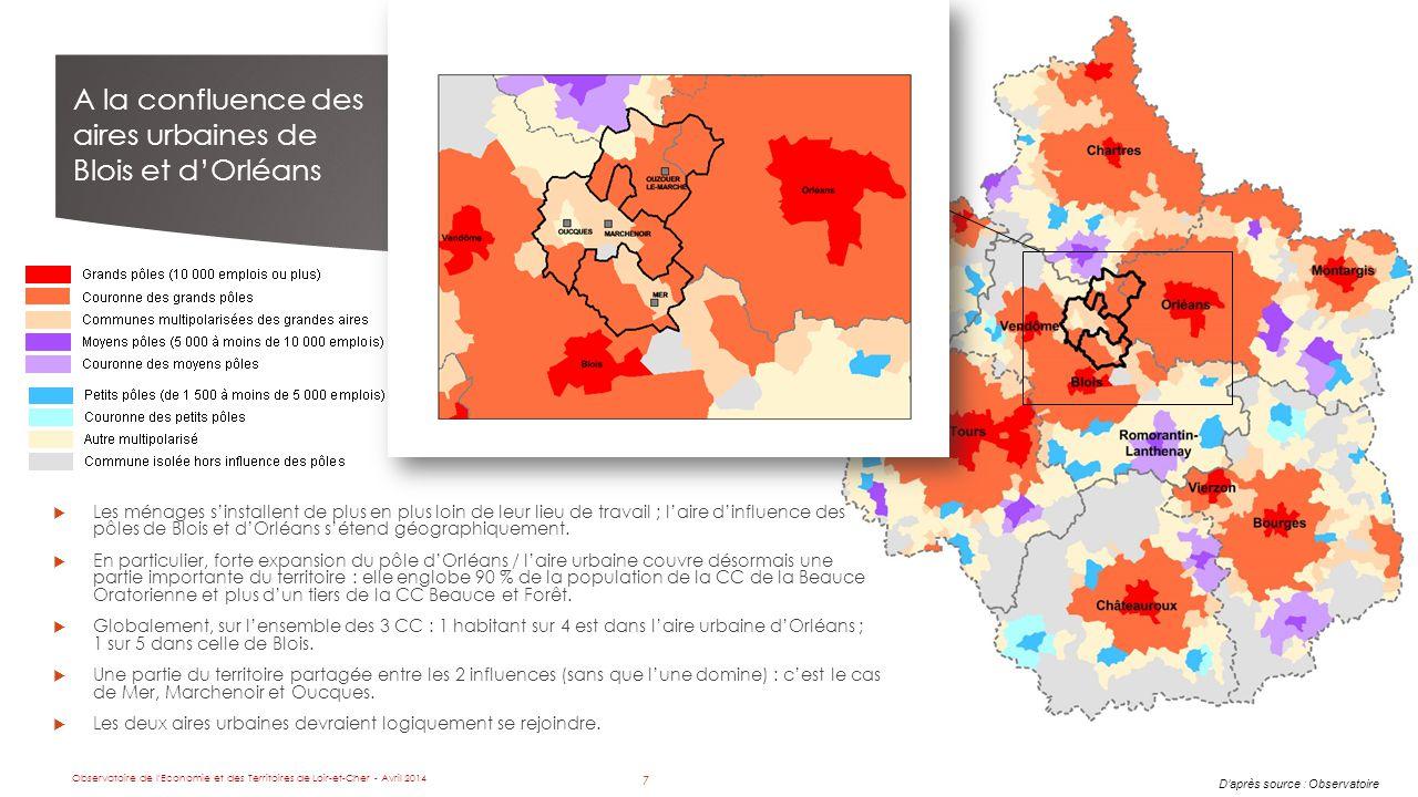 7 A la confluence des aires urbaines de Blois et d'Orléans D'après source : Observatoire  Les ménages s'installent de plus en plus loin de leur lieu de travail ; l'aire d'influence des pôles de Blois et d'Orléans s'étend géographiquement.