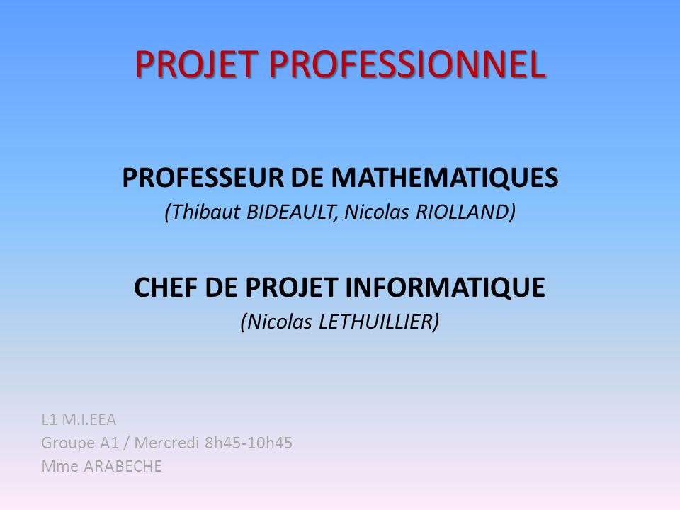 PROJET PROFESSIONNEL PROFESSEUR DE MATHEMATIQUES (Thibaut BIDEAULT, Nicolas RIOLLAND) CHEF DE PROJET INFORMATIQUE (Nicolas LETHUILLIER) L1 M.I.EEA Gro