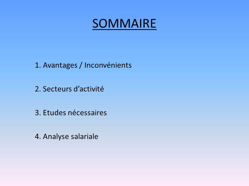 SOMMAIRE 1. Avantages / Inconvénients 2. Secteurs d'activité 3. Etudes nécessaires 4. Analyse salariale