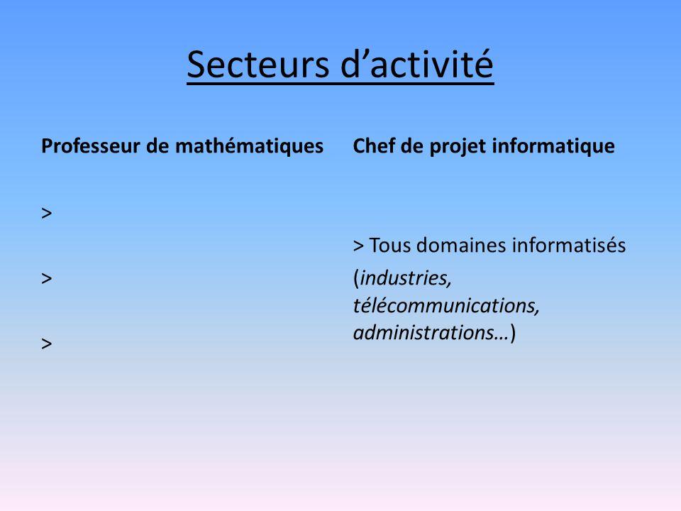 Secteurs d'activité Professeur de mathématiques > > > Chef de projet informatique > Tous domaines informatisés (industries, télécommunications, admini