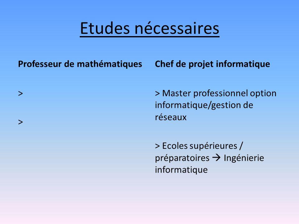 Etudes nécessaires Professeur de mathématiques > > Chef de projet informatique > Master professionnel option informatique/gestion de réseaux > Ecoles