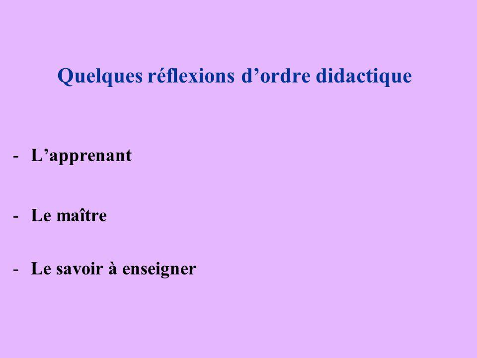 Quelques réflexions d'ordre didactique -L-L'apprenant -L-Le maître -L-Le savoirà enseigner