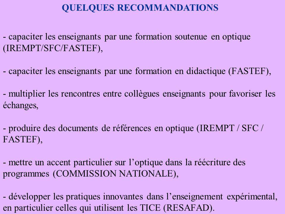 - capaciter les enseignants par une formation soutenue en optique (IREMPT/SFC/FASTEF), - capaciter les enseignants par une formation en didactique (FASTEF), - multiplier les rencontres entre collègues enseignants pour favoriser les échanges, - produire des documents de références en optique (IREMPT / SFC / FASTEF), - mettre un accent particulier sur l'optique dans la réécriture des programmes (COMMISSION NATIONALE), - développer les pratiques innovantes dans l'enseignement expérimental, en particulier celles qui utilisent les TICE (RESAFAD).