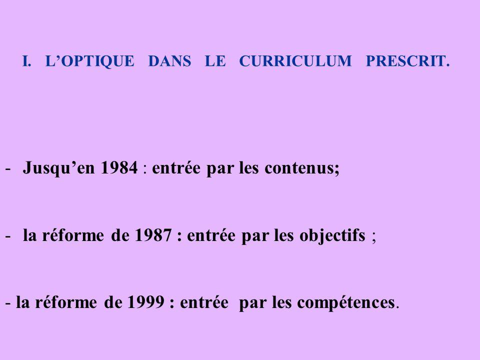 I. L'OPTIQUE DANS LE CURRICULUM PRESCRIT. -J-Jusqu'en 1984 : entrée par les contenus; -l-la réforme de 1987 : entrée par les objectifs ; - la réforme