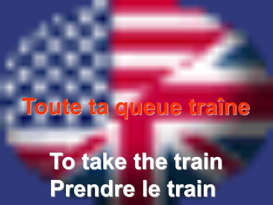 Toute ta queue traîne To take the train Prendre le train