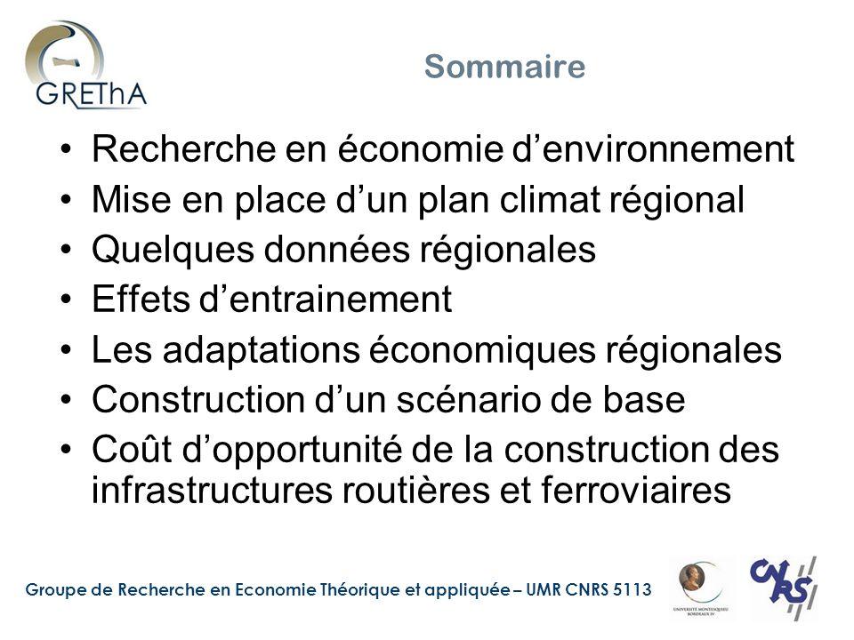 Groupe de Recherche en Economie Théorique et appliquée – UMR CNRS 5113 Sommaire Recherche en économie d'environnement Mise en place d'un plan climat r