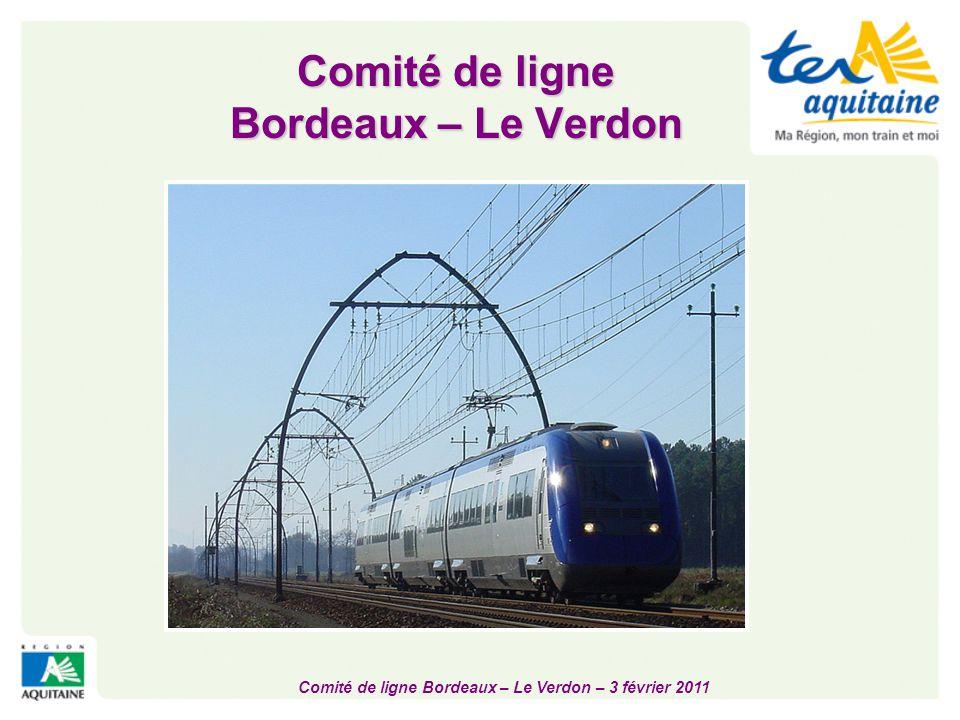Comité de ligne Bordeaux – Le Verdon – 3 février 2011 Modernisation des gares  Margaux, réouverture en 2009  Restructuration complète du bâtiment (300 000 €)  Lesparre  Bâtiment entièrement rénové en 2009 (150 000€)  Espaces extérieurs entièrement refaits en 2010 (350 000 €)  Rénovation des abords  Parempuyre  Création d'un pôle d'échanges