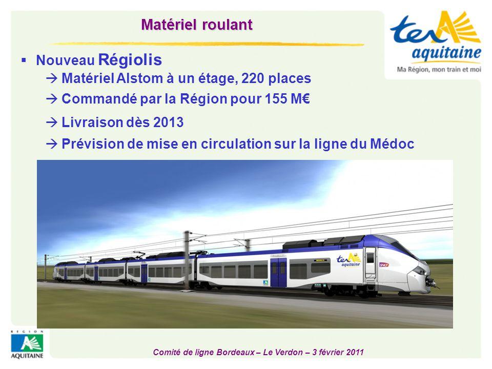 Comité de ligne Bordeaux – Le Verdon – 3 février 2011  Nouveau Régiolis  Commandé par la Région pour 155 M€  Livraison dès 2013 Matériel roulant 