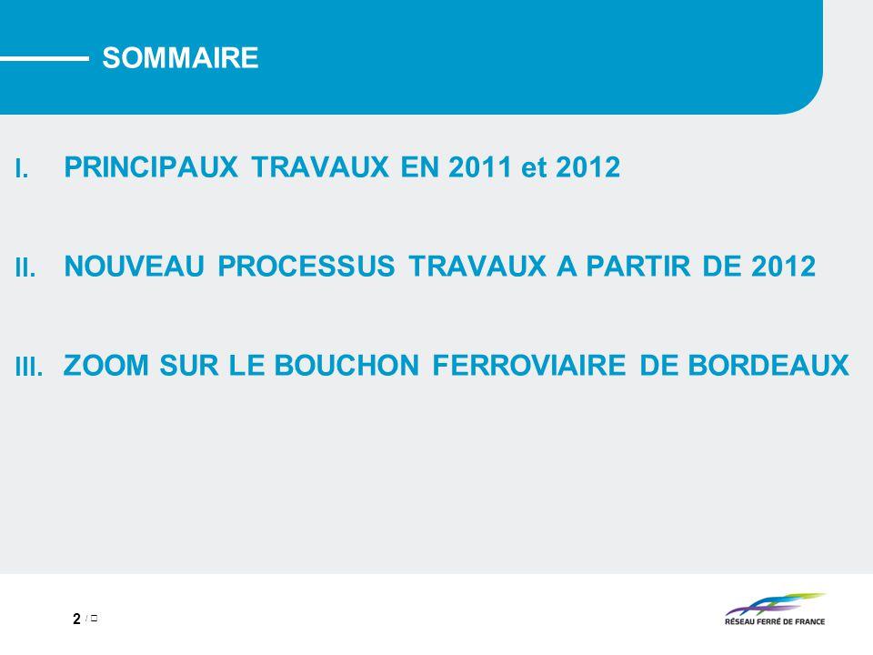 / 2 SOMMAIRE I.PRINCIPAUX TRAVAUX EN 2011 et 2012 II.