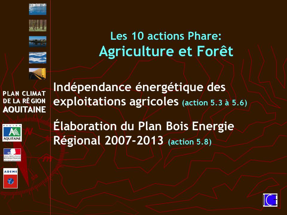 Indépendance énergétique des exploitations agricoles (action 5.3 à 5.6) Élaboration du Plan Bois Energie Régional 2007-2013 (action 5.8) Les 10 actions Phare: Agriculture et Forêt