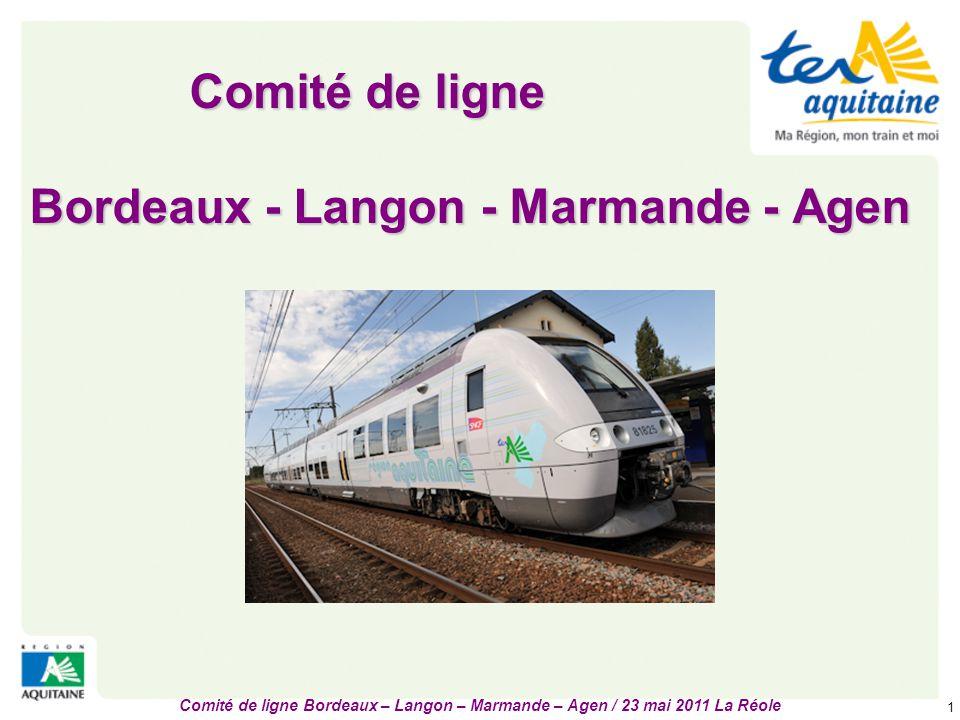 Comité de ligne Bordeaux – Langon – Marmande – Agen / 23 mai 2011 La Réole 2 Ligne et infrastructures  Double voie électrifiée prolongée vers Toulouse et Marseille => grande liaison nationale dite « Transversale Sud »  136 kilomètres, vitesse maximale de 150 à 160 km/h.