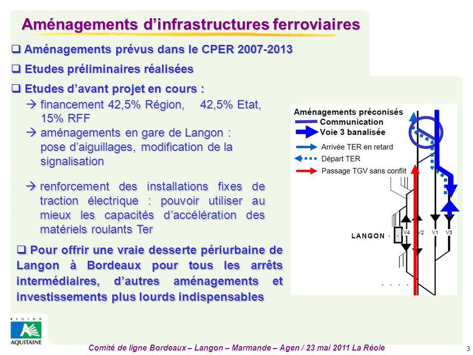 Comité de ligne Bordeaux – Langon – Marmande – Agen / 23 mai 2011 La Réole 4 Modernisation des gares et pôles d'échanges gares et 13 haltes concernées par un important programme de modernisation et d'aménagement  8 gares et 13 haltes concernées par un important programme de modernisation et d'aménagement  Opérations achevées :  Installation d'équipements et de signalétique en 2010 sur 12 haltes, pour un coût d'environ 600 k€ financé à 70% par la Région (Villenave, St Médard d'Eyrans, Arbanats, Podensac, Cadaujac, Preignac, St Macaire, St Pierre d'Aurillac, Caudrot, Gironde, Lamothe Landerron, Ste Bazeille)  Halte de Portets : travaux terminés début 2011, 2nde halte écodurable de France après celle de Niederbronn en Alsace.