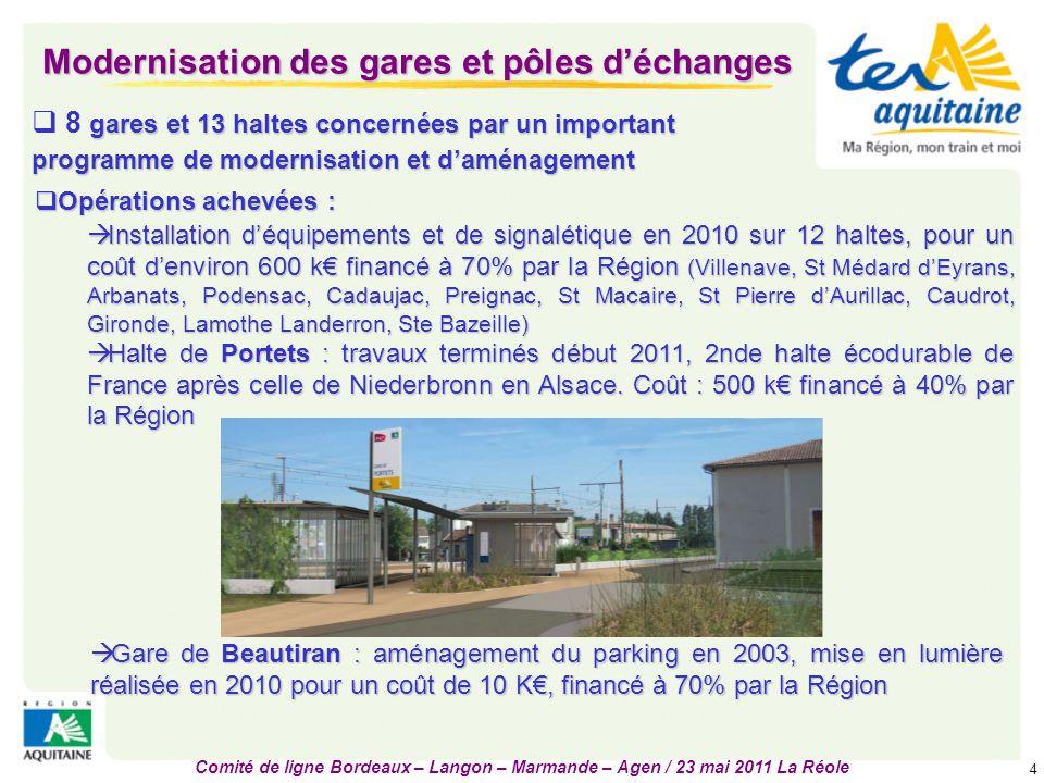 Comité de ligne Bordeaux – Langon – Marmande – Agen / 23 mai 2011 La Réole 5 Modernisation des gares et pôles d'échanges  Opérations en phase travaux :  Gare de Tonneins : travaux du bâtiment en cours depuis début 2011.